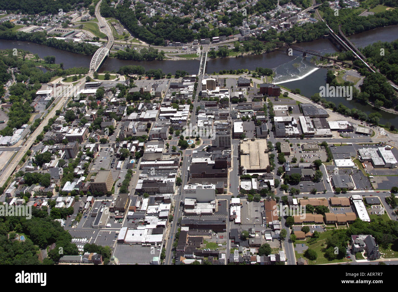 Aerial view of the City of Easton, located on the banks of the Stock