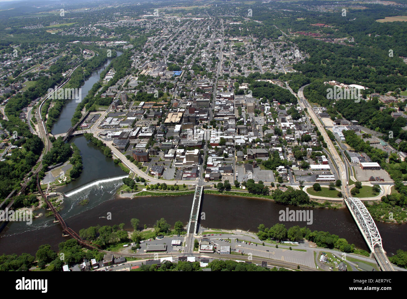 Aerial view of the Delaware River near Easton, Pennsylvania, and