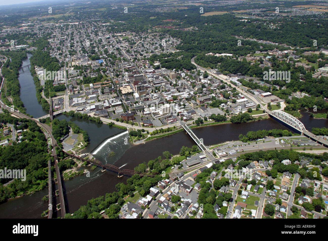 Aerial View Of The City Of Easton Stock Photos & Aerial View