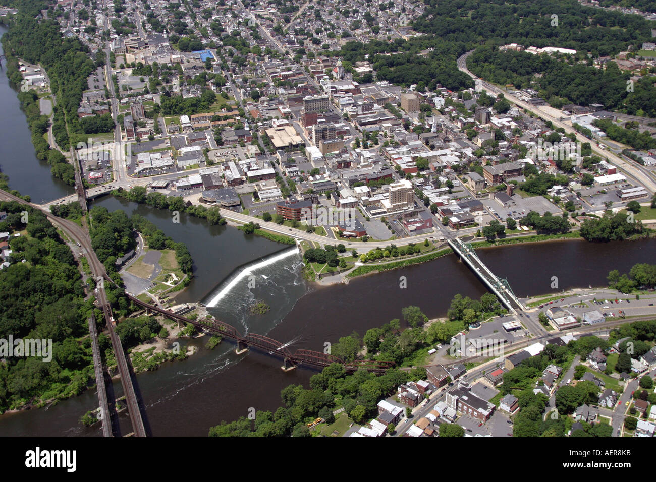 Aerial view of Easton, Pennsylvania, and Phillipsburg, New Jersey