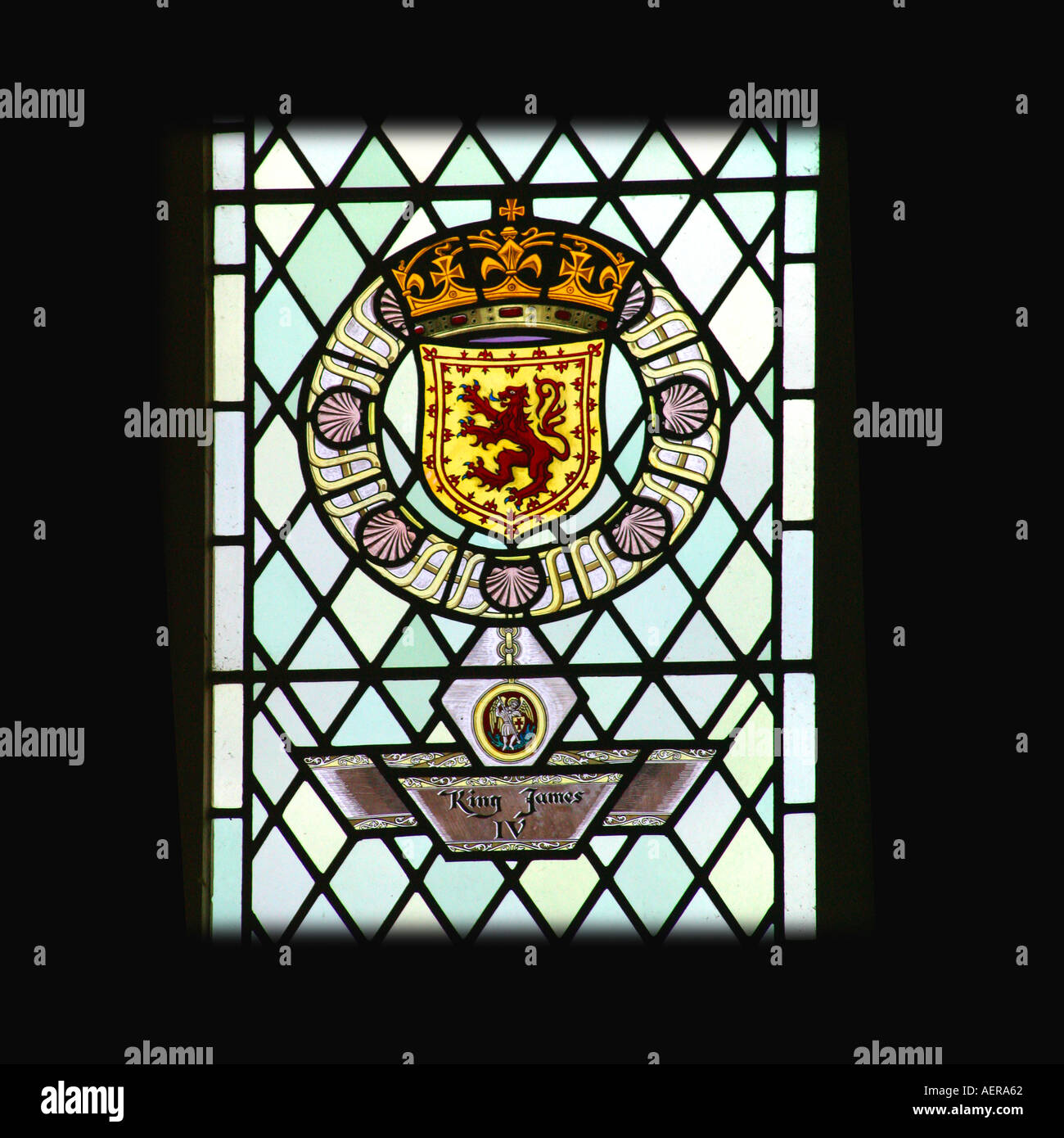 Stirling Castle Scotland King James IV coat of arms in great hall - Stock Image