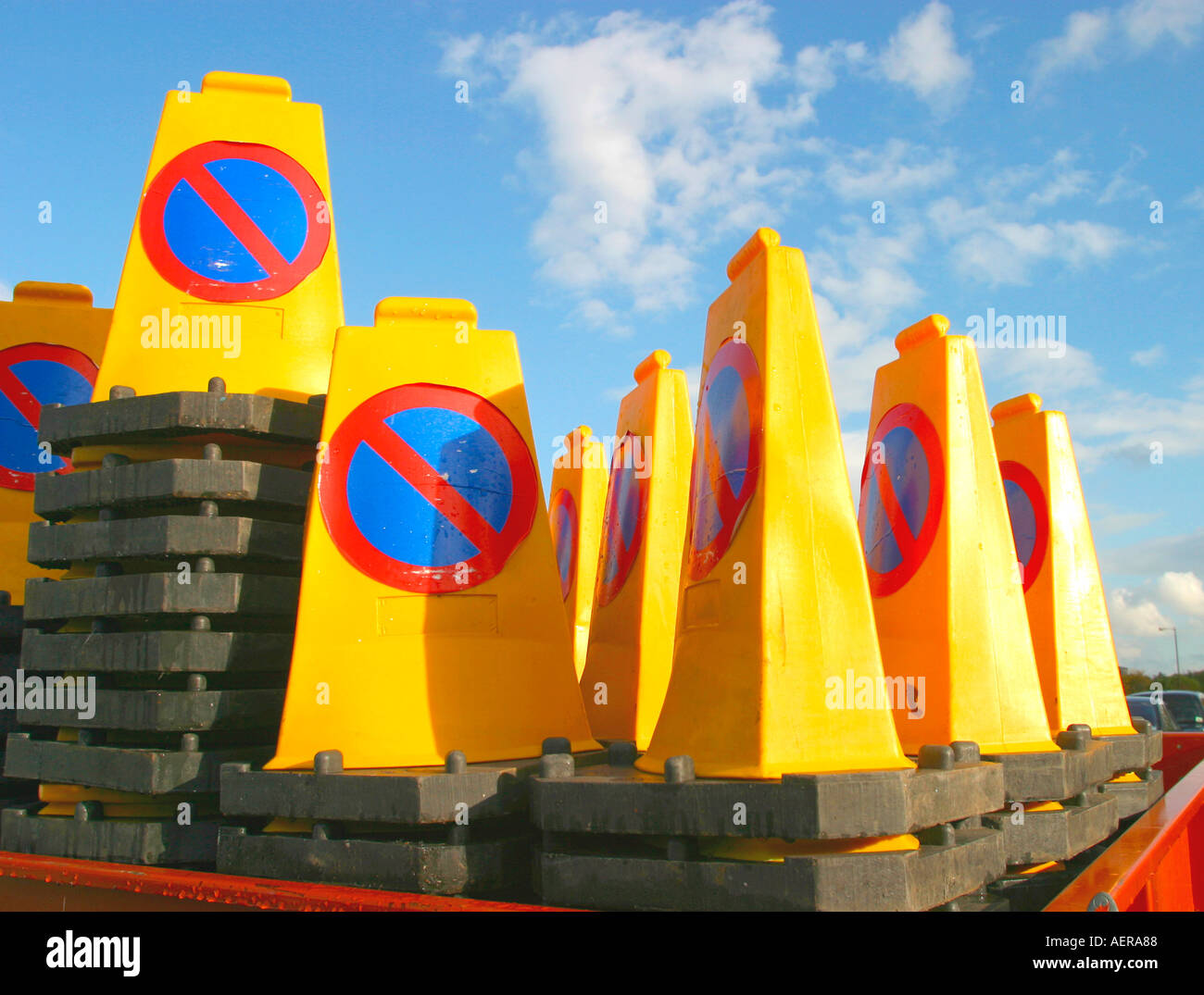 No waiting traffic cones - Stock Image