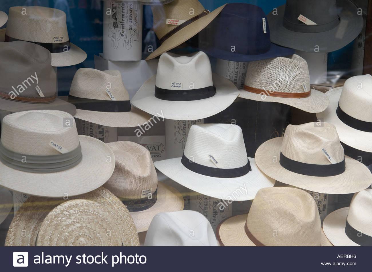 Panama Hats in Jermyn Street in London The Shirt makers street in London Stock Photo