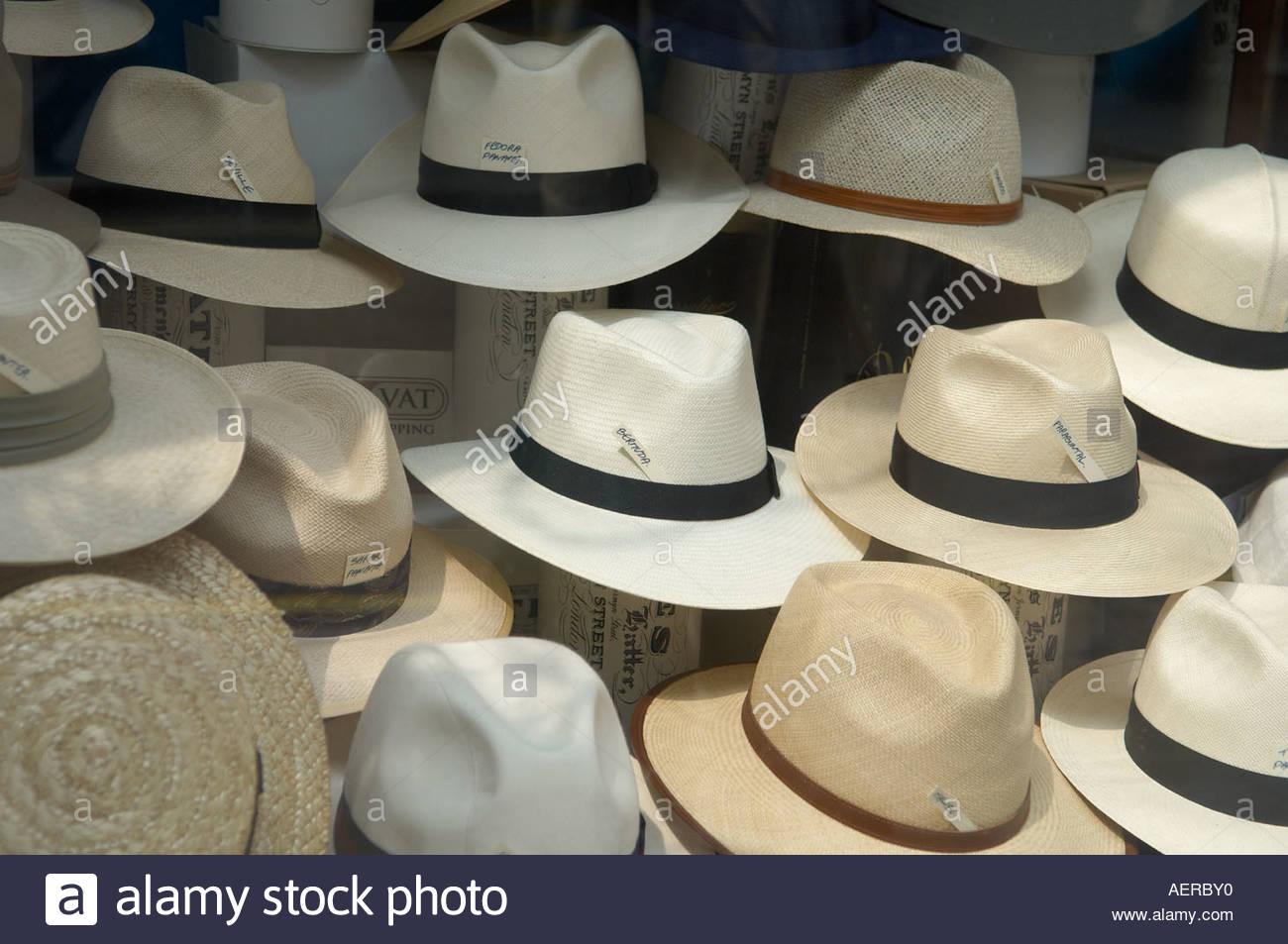Panama Hats in Jermyn Street in London - Stock Image