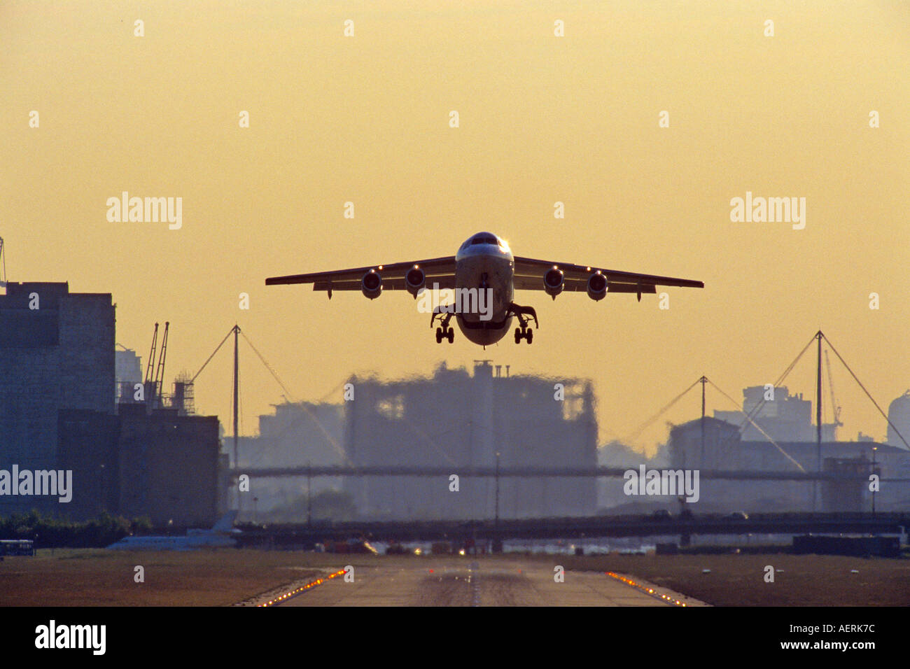 BAe 146 taking off from London City Airport - Stock Image