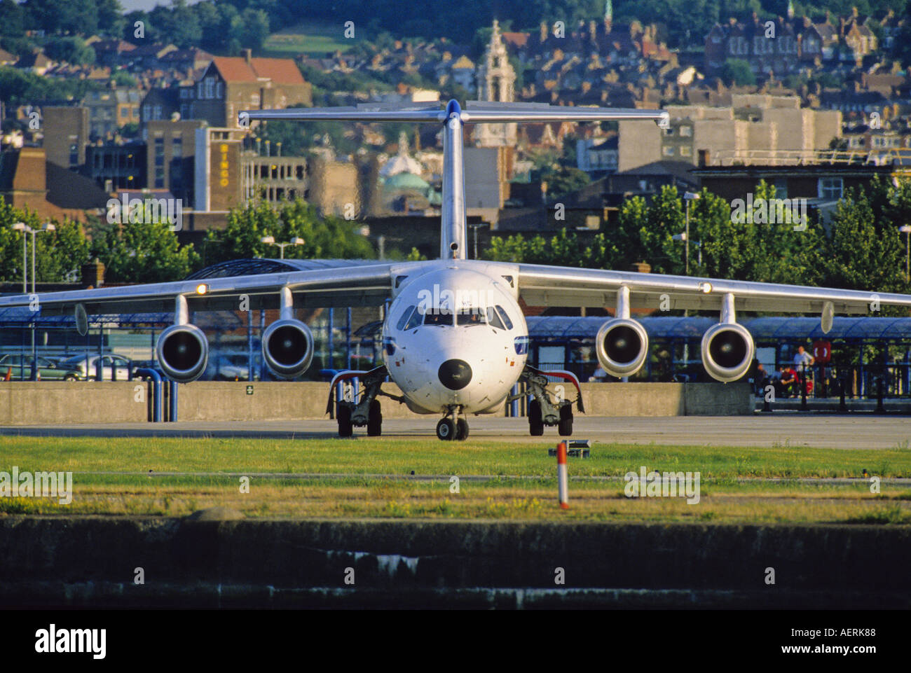 BAe 146 is taxing at London City Airport - Stock Image