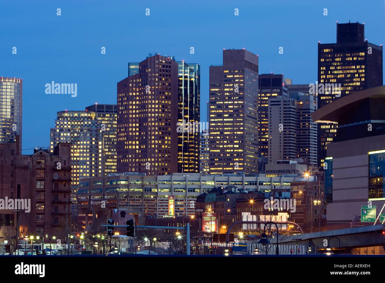 Boston MA USA Financial District Night shot - Stock Image