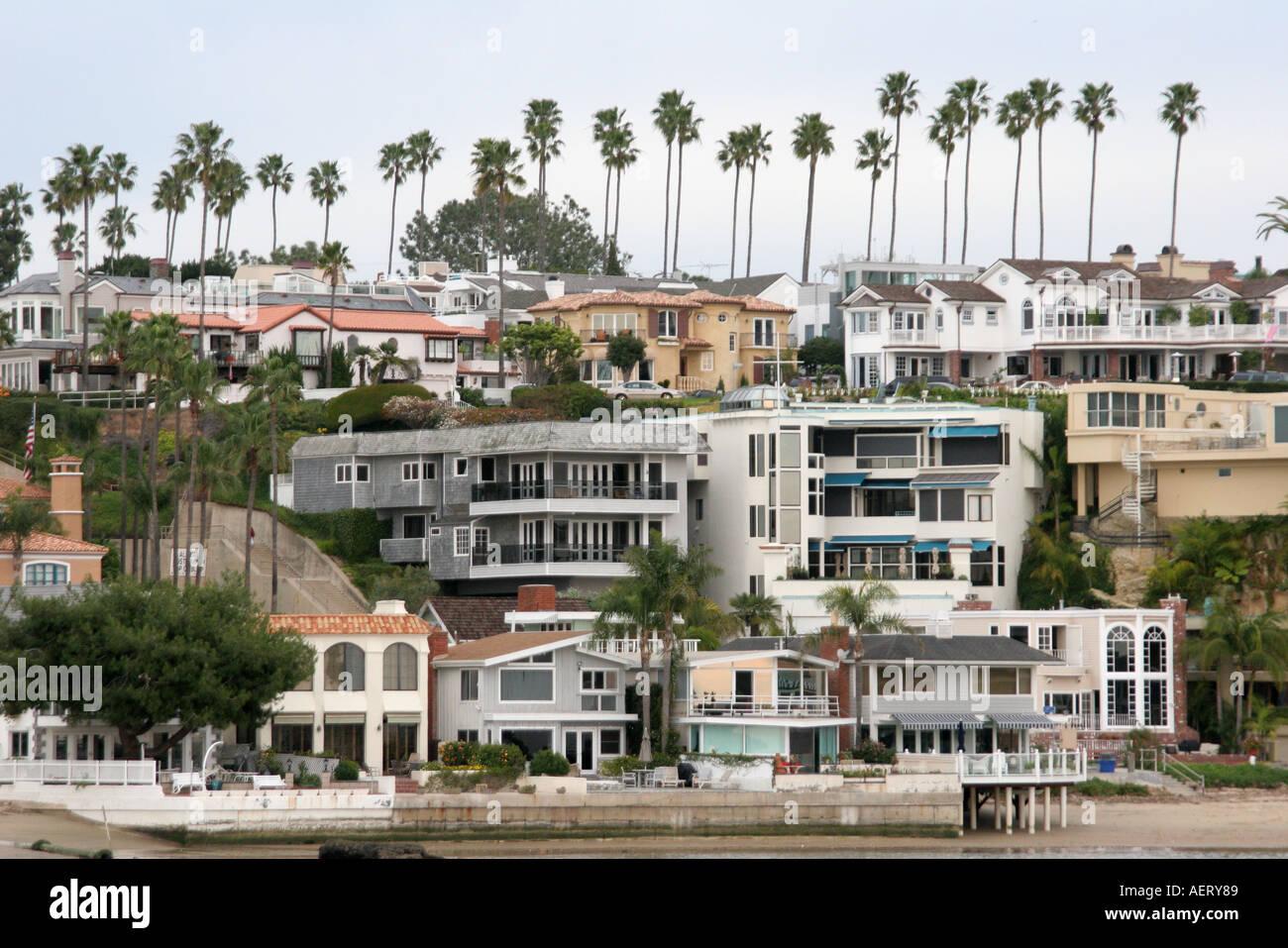 California Newport Beach Newport Bay Hillside Residences Homes Stock