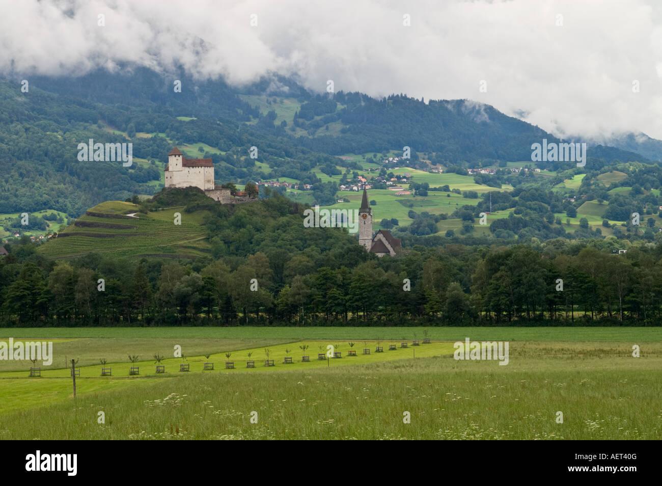 Castle in small town Balzers in principality of Liechtenstein. Stock Photo