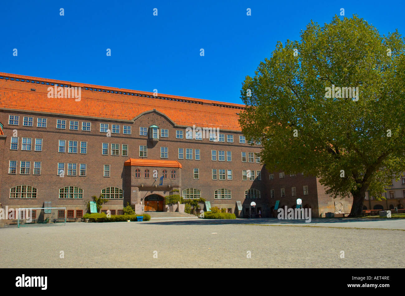 The empty school yard of Eastern Secondary School in Östermalm district in central Stockholm EU - Stock Image
