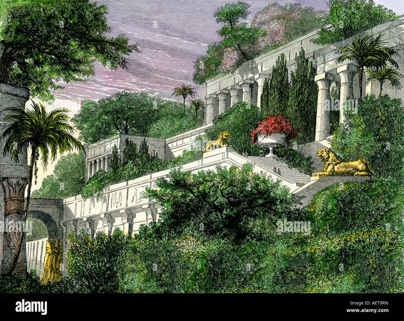 Hanging Gardens of Babylon in ancient times. Hand-colored woodcut - Stock Image