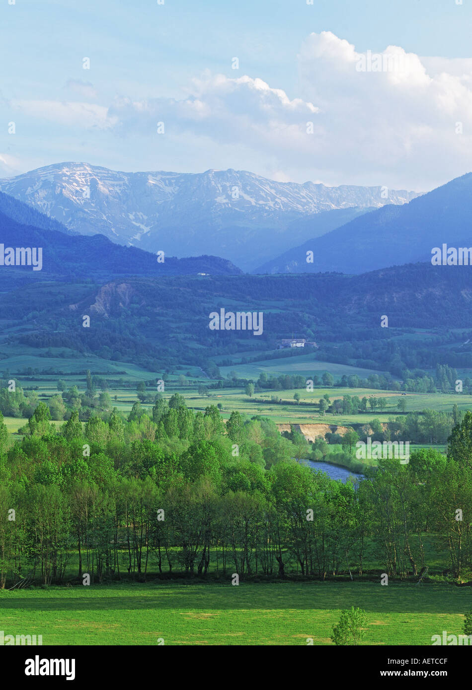 Farmlands and foothills below Pyrenees in Catalunya, Spain - Stock Image