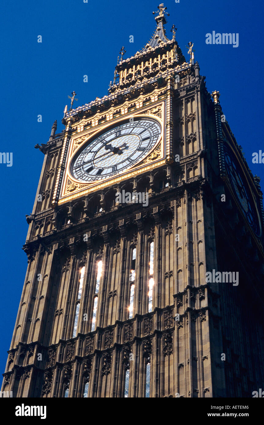 Dynamic viewpoint showing 1045 on clockface of Big Ben, Houses of Parliment, Westminster, London, England, UK Stock Photo