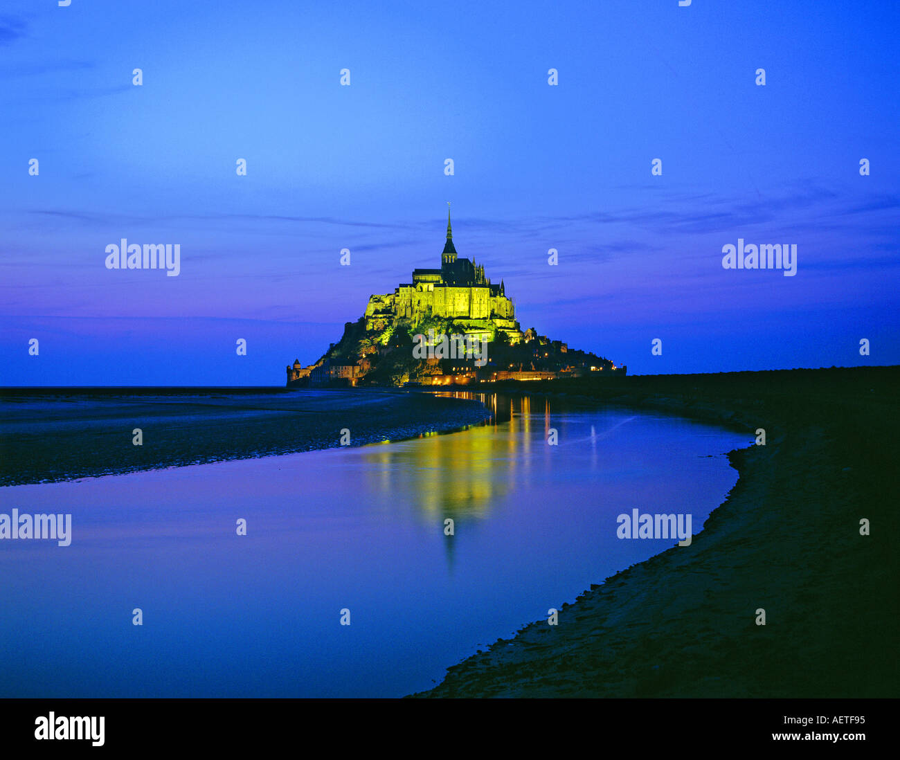Le Mont Saint-Michel at night Normandy France Stock Photo