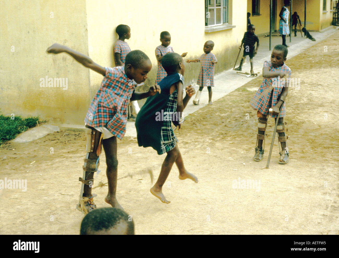 Gatagara Rwanda: A center for the rehabilitation of child polio victims. Children at Play - Stock Image