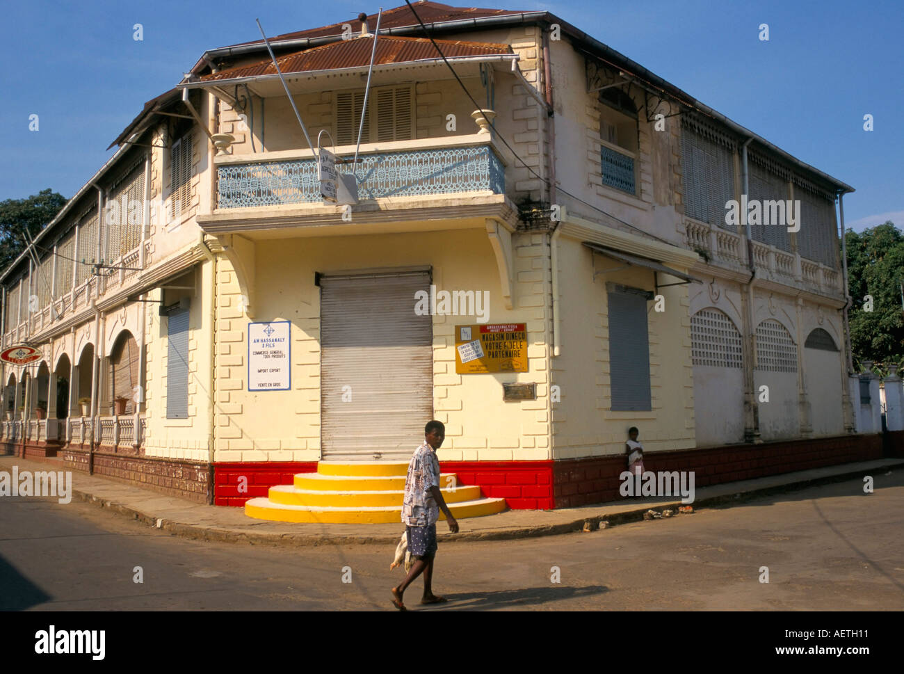 Colonial style building Hellville Andoany Nosy Be island Madagascar Africa - Stock Image