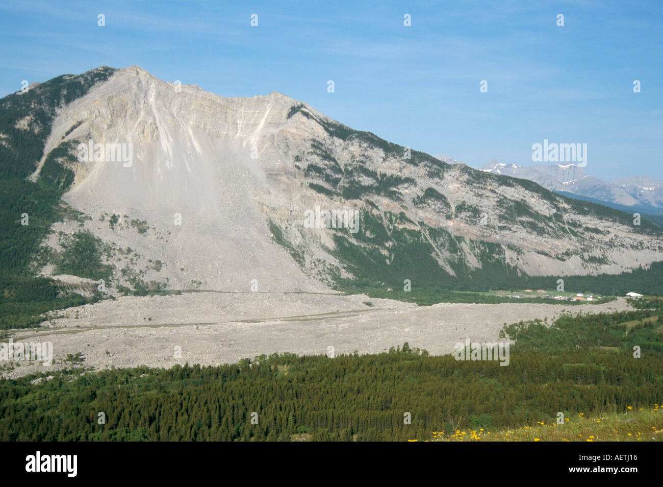 Frank Slide where giant rockfall occurred in 1903 limestone debris fell 400m Alberta Canada North America - Stock Image