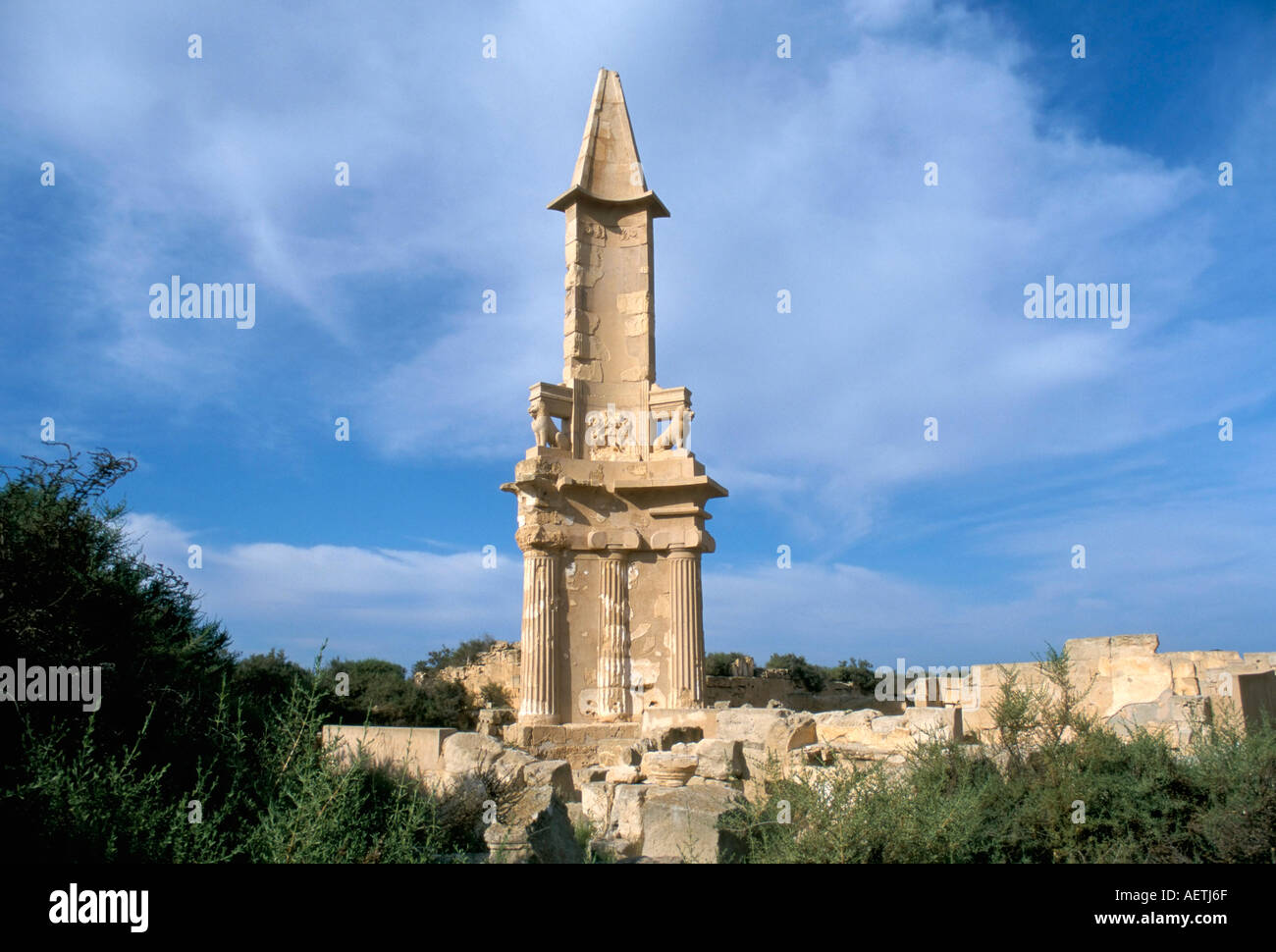 The Punic mausoleum dating from 2nd century BC Roman city of Sabratha UNESCO World Heritage Site Libya North Africa Africa - Stock Image