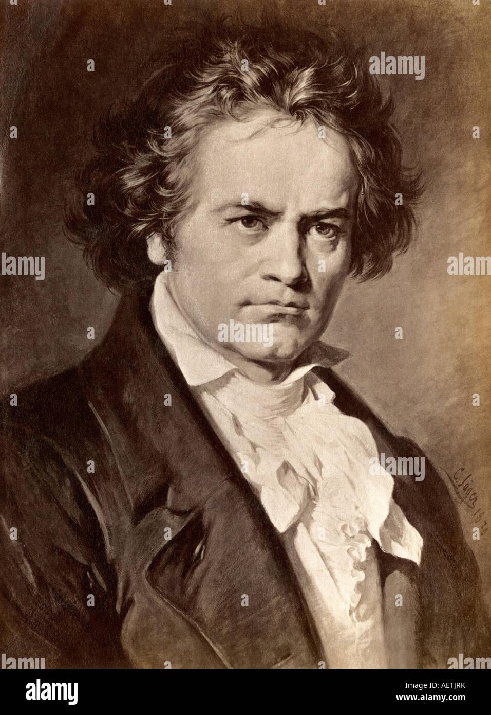 Ludwig van Beethoven. Photograph of an illustration - Stock Image