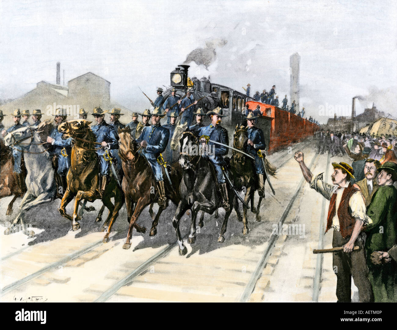 US Cavalry escorting a meat train from the Chicago Stockyards during the Pullman Strike 1894. Hand-colored halftone - Stock Image
