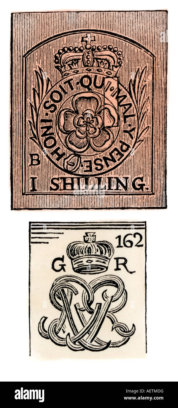 Stamp Act stamps issued by the British government before the American Revolution. Hand-colored woodcut - Stock Image