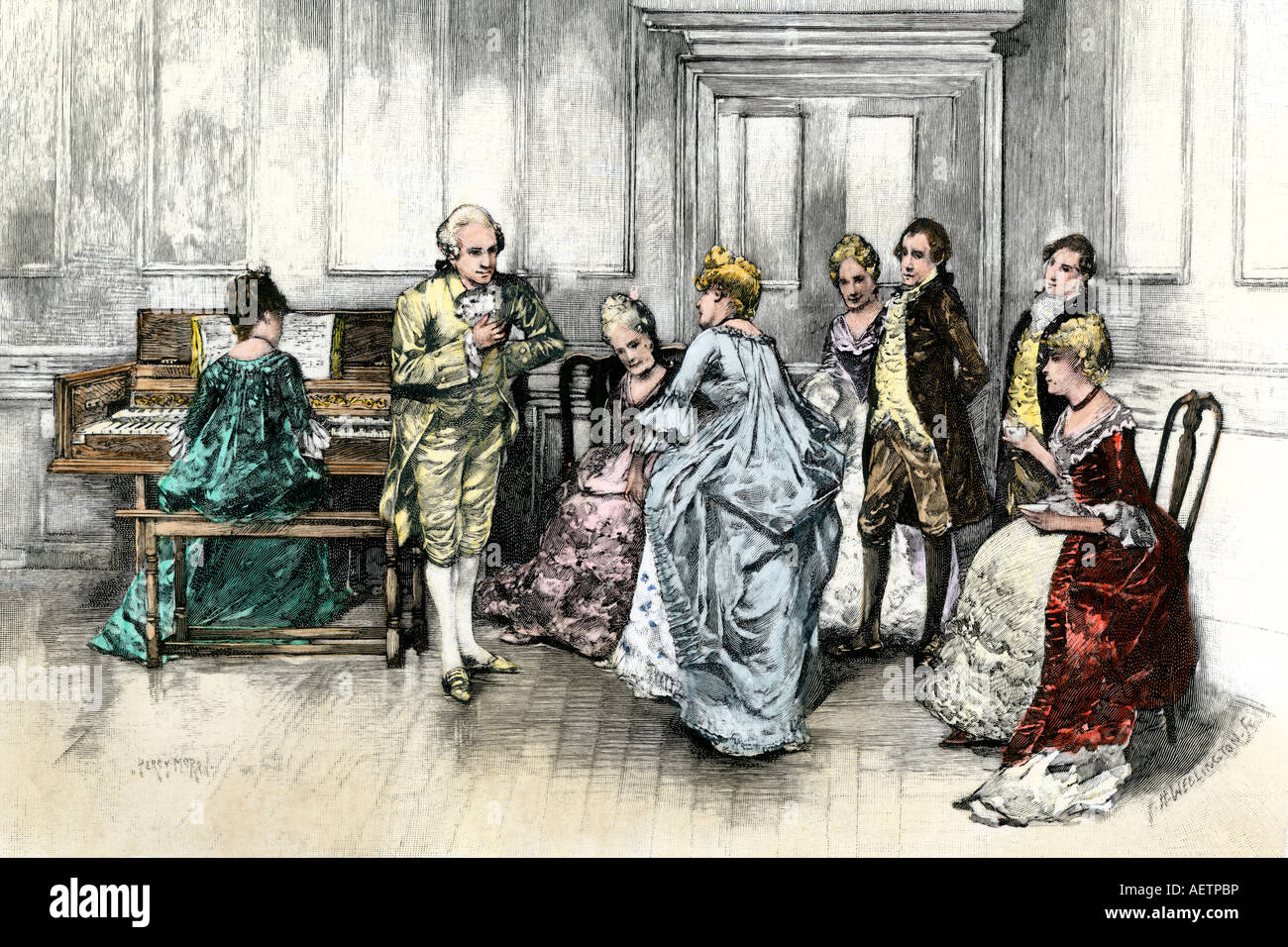 George Washington dancing a minuet at Sally Fairfax s home in colonial Virginia. Hand-colored woodcut - Stock Image