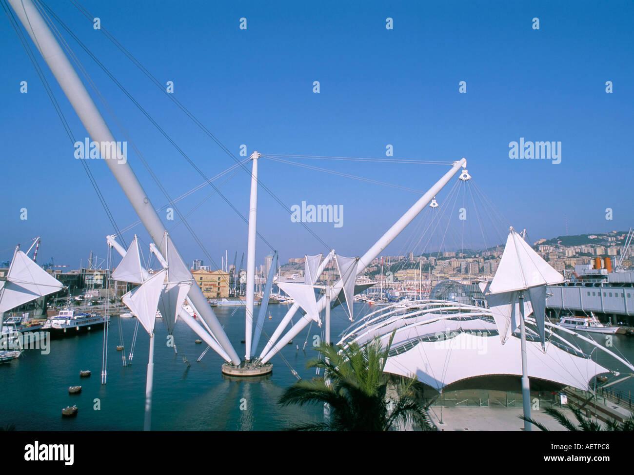 Bigo by Renzo Piano Porto Antico port area Genoa Genova Liguria Italy Europe - Stock Image