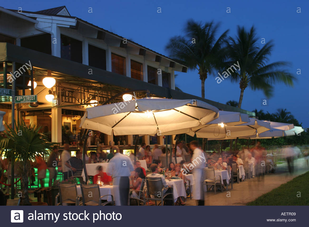 Superb Miami Beach Florida South Point Smith And Wollensky Restaurant Alfresco  Dining Umbrellas Evening Nightlife