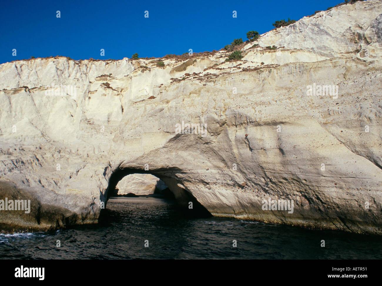 Volcanic rock formations on south eastern coast near Kleftiko Milos Cyclades islands Greece Mediterranean Europe - Stock Image