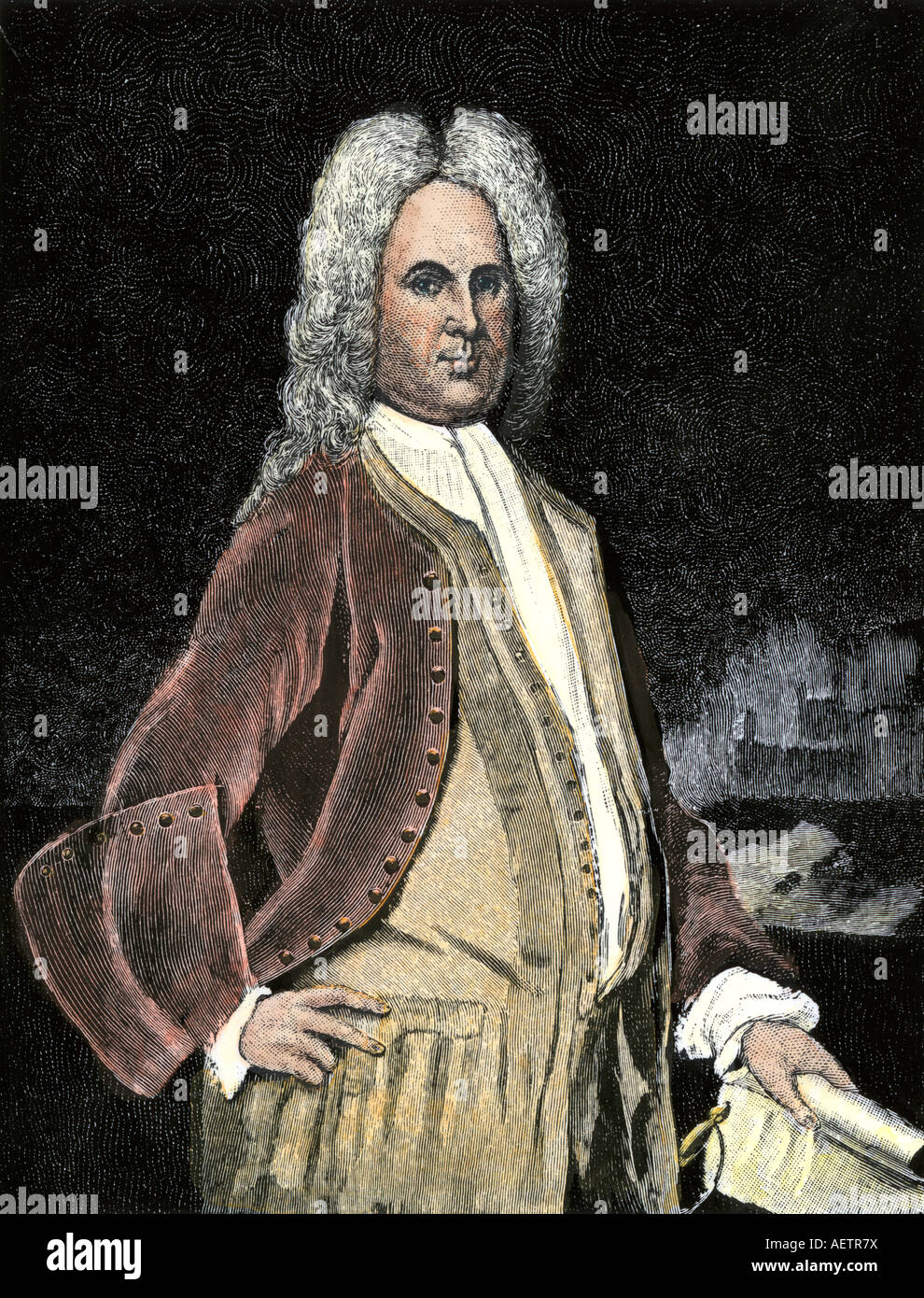Alexander Spotswood, Lieutenant Governor of Virginia Colony. Hand-colored woodcut - Stock Image