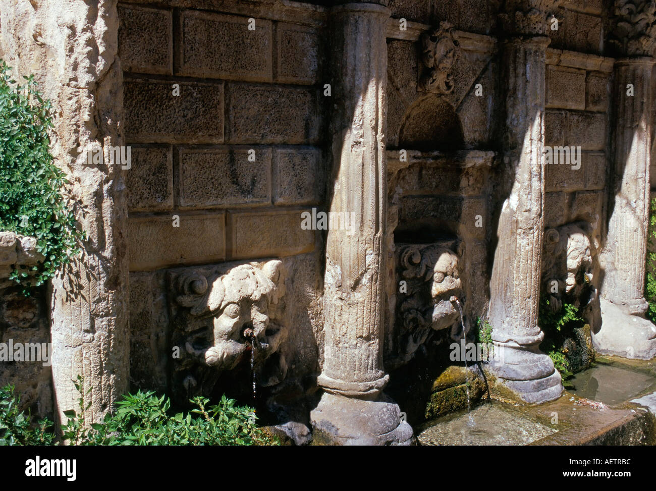 Rimondi fountain with spouting lion heads Venetian heritage Rethymno Rethymnon island of Crete Greece Mediterranean Europe - Stock Image