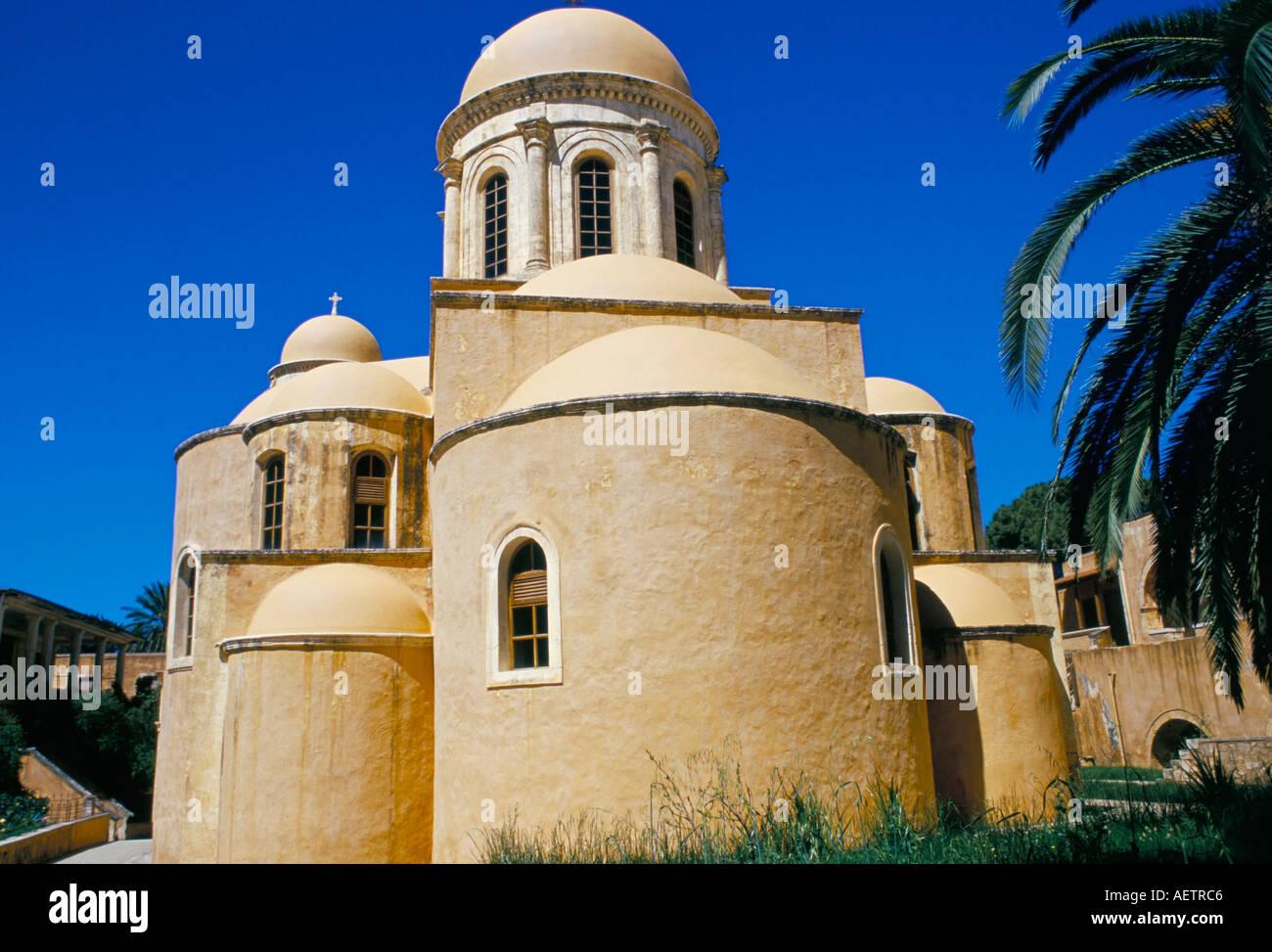 The 17th century Venetian built Christian monastery of Agias Triada Akrotiri peninsula island of Crete Greece Mediterranean Euro - Stock Image