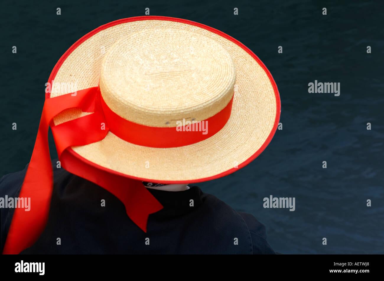 17b6abb8bee Straw Hat Red Ribbon Stock Photos   Straw Hat Red Ribbon Stock ...