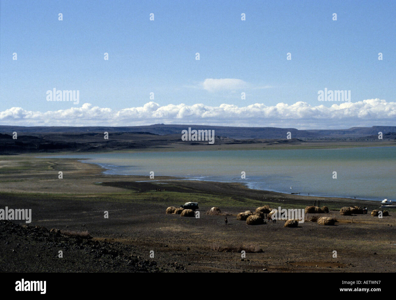 El Molo village on the shores of Lake Turkana, northern Kenya, East Africa Stock Photo