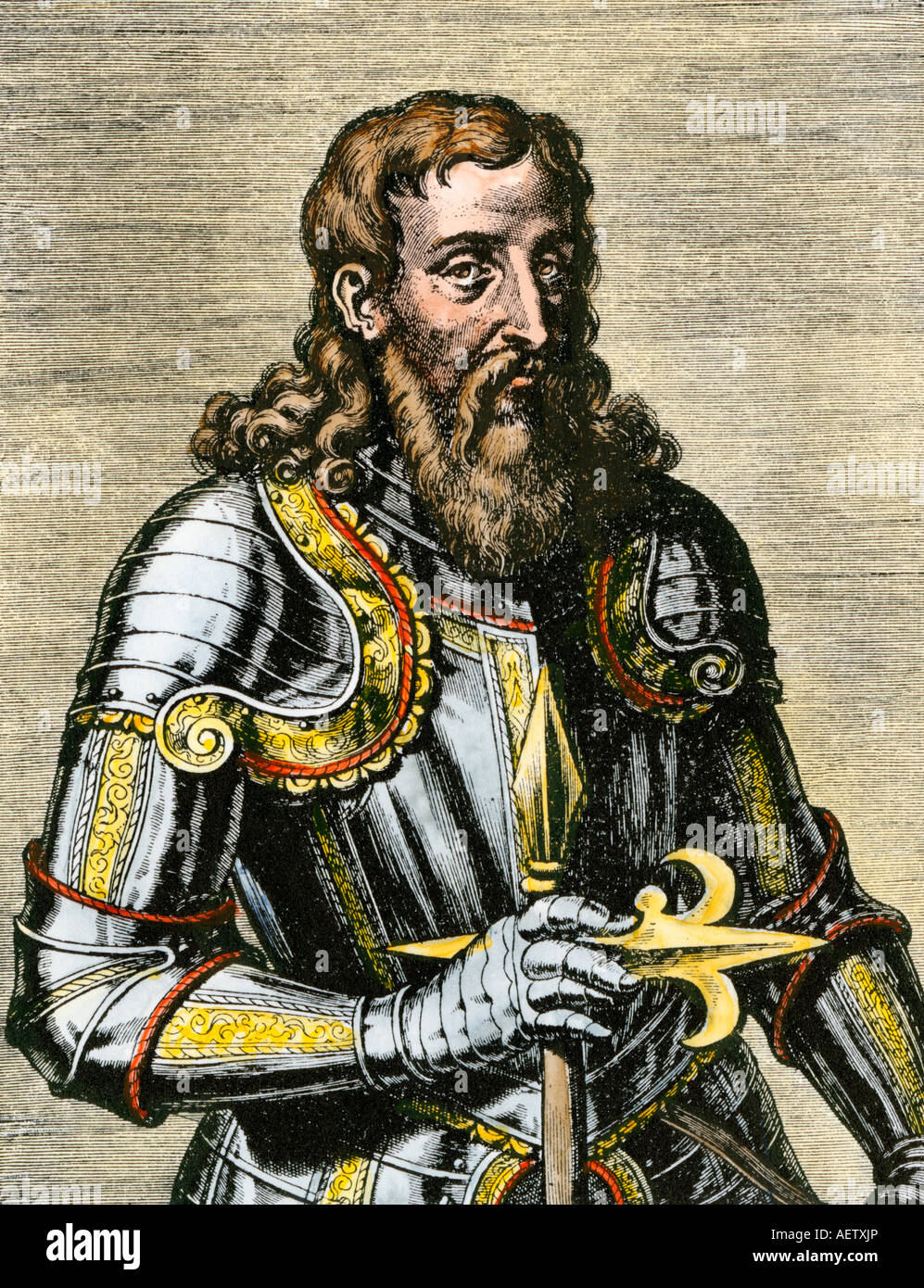 Henry the Navigator in armor. Hand-colored woodcut - Stock Image