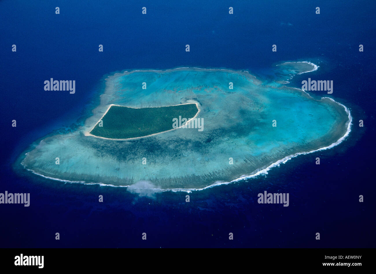 Tonga, South Pacific, Aerial of Hapa'i Group, atoll - Stock Image