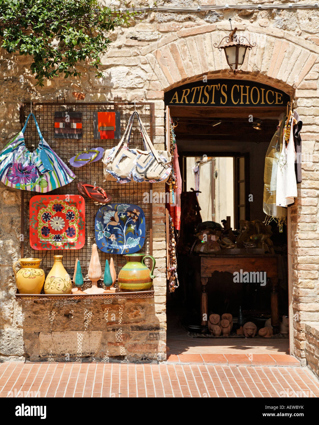 local craft shops local craft shop san gimignano tuscany italy europe stock 2355