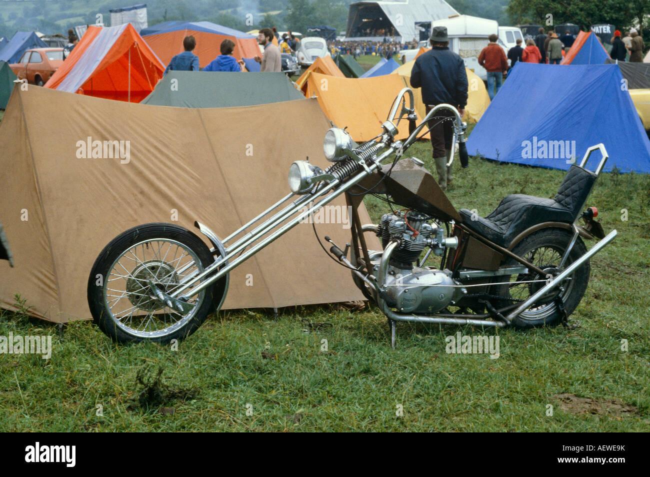 Chopper Motorcycle In Camping Field Glastonbury Festival Somerset UK Europe - Stock Image