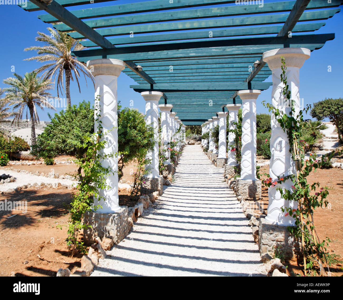 Columb Walkway Kalithea Spa Rhodes Greek Islands Greece Hellas Stock