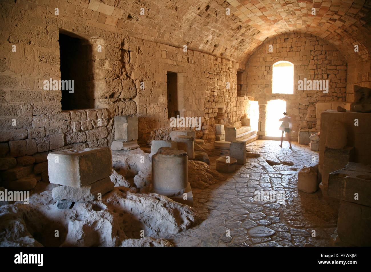 Storage Rooms  The Acropolis Lindos Rhodes Greek Islands Greece Hellas - Stock Image