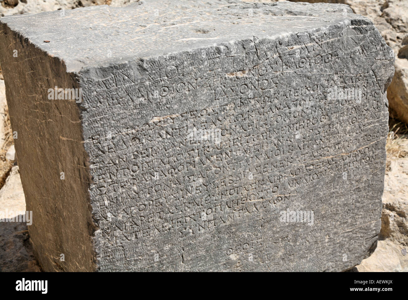 Greek Written Tablet The Acropolis Lindos Rhodes Greek Islands Greece Hellas - Stock Image