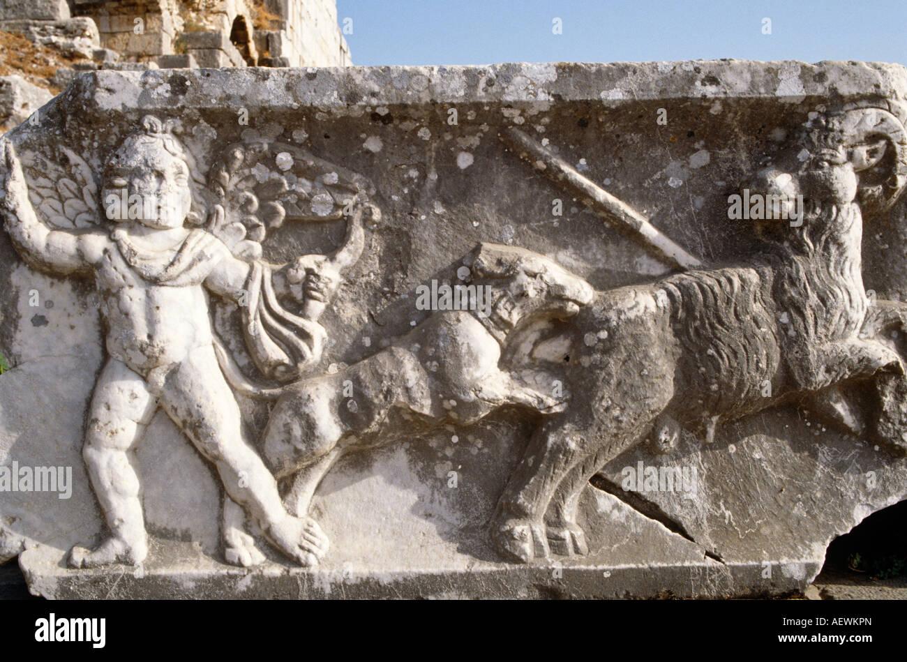 Ancient Sculpture Helenistic  Aphrodisias Ancient Site Turkey - Stock Image