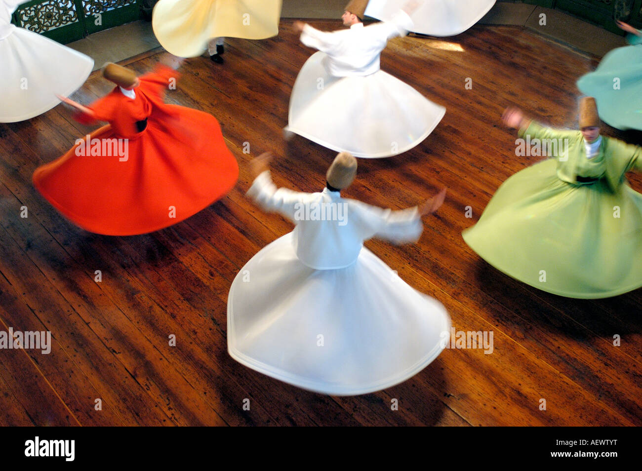 Whirling Dervishes at Galata Mevlevihanesi Istanbul Stock Photo