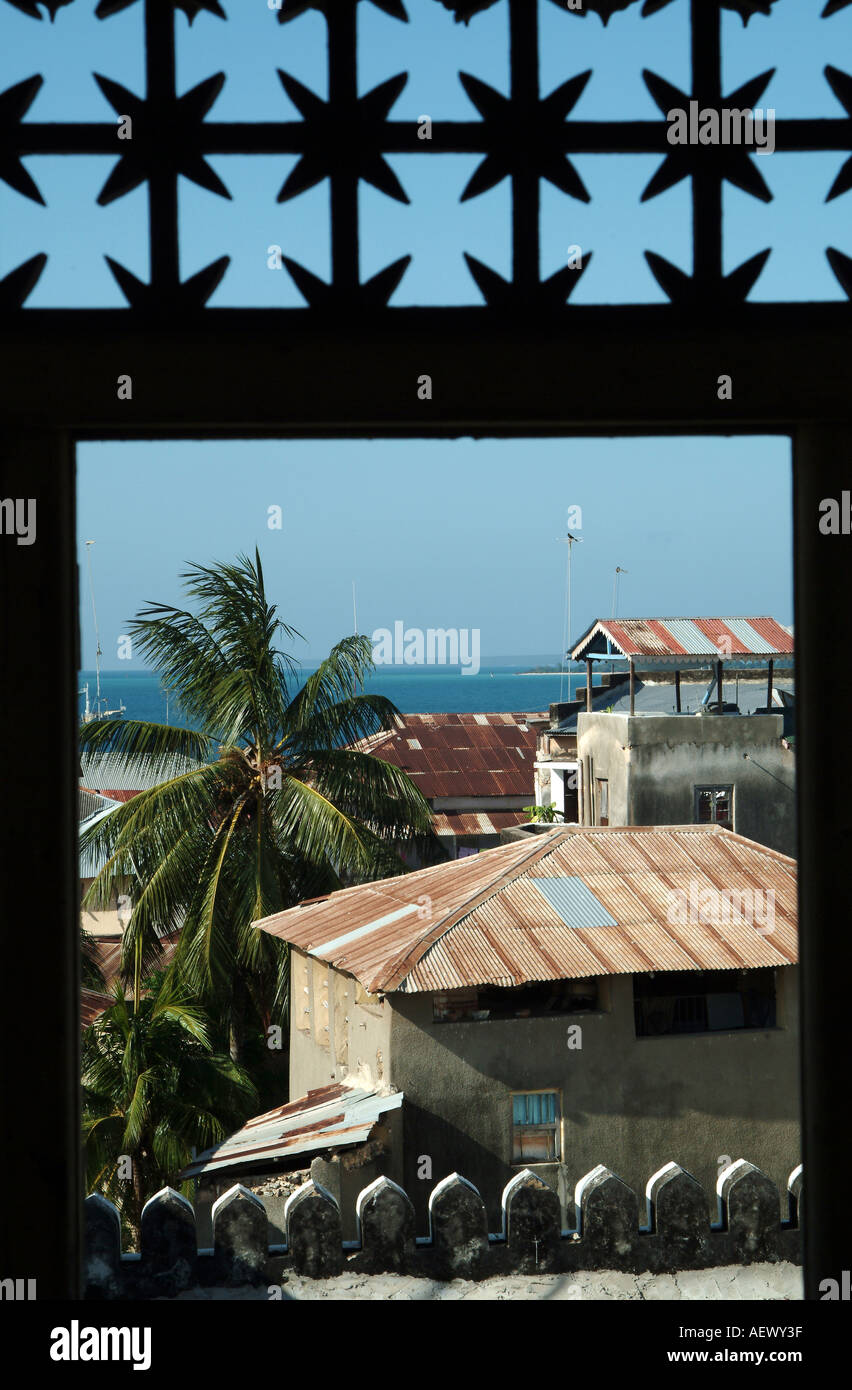 Looking out over the view of Stone town from Tippu Tip home on the island of Zanzibar. Africa - Stock Image