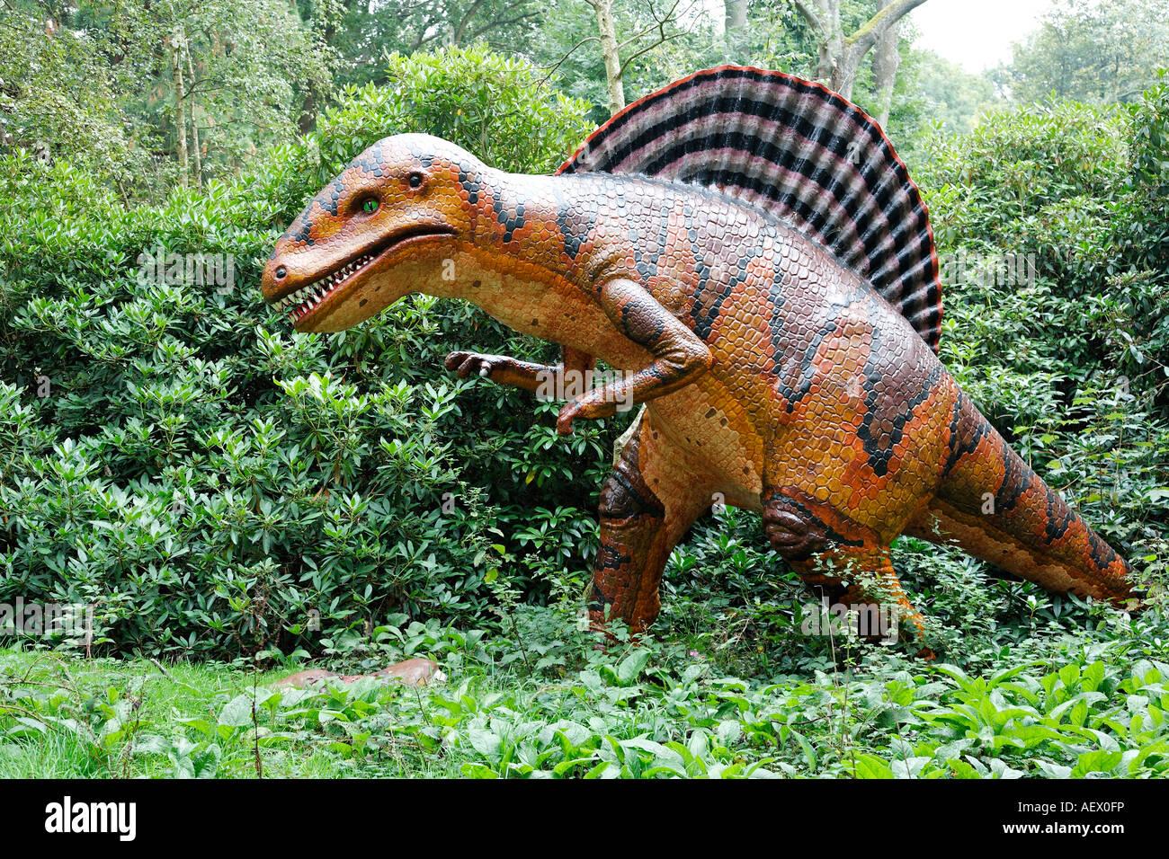 Life size model dinosaur Spinosaurus - Stock Image