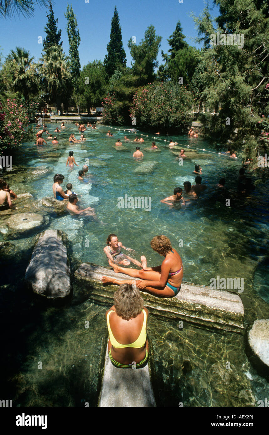 Hierapolis Turkey, Water at 36o, bathing with the artefacts of history. The  Sacred pools of Apollo where you bathe with history.