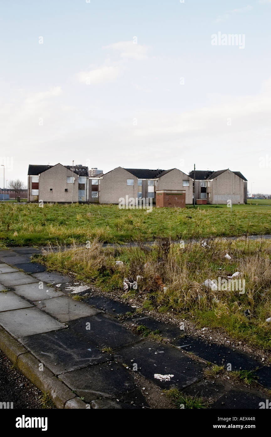Derelict homes on council housing estate in Croxteth, Liverpool - Stock Image