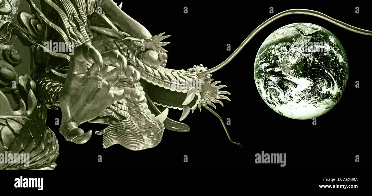 Dragon Collage of Chinese Dragon on floating boat in Hongkong Aberdeen Harbour with earth Nasa picture taken on Apollo 17  - Stock Image