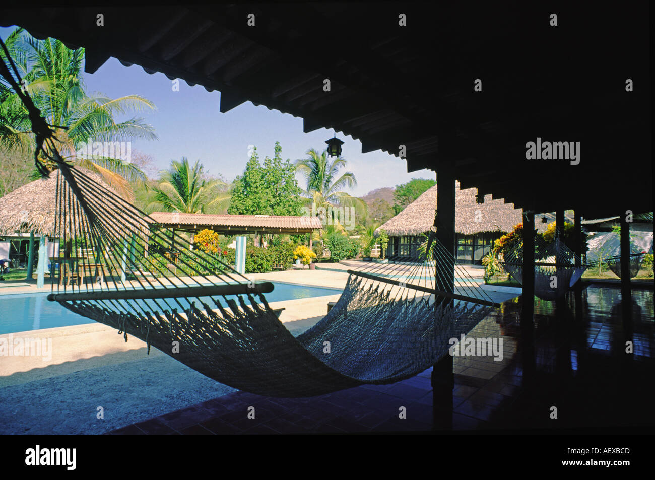 Costa Rica Bungalow hammock pool  - Stock Image