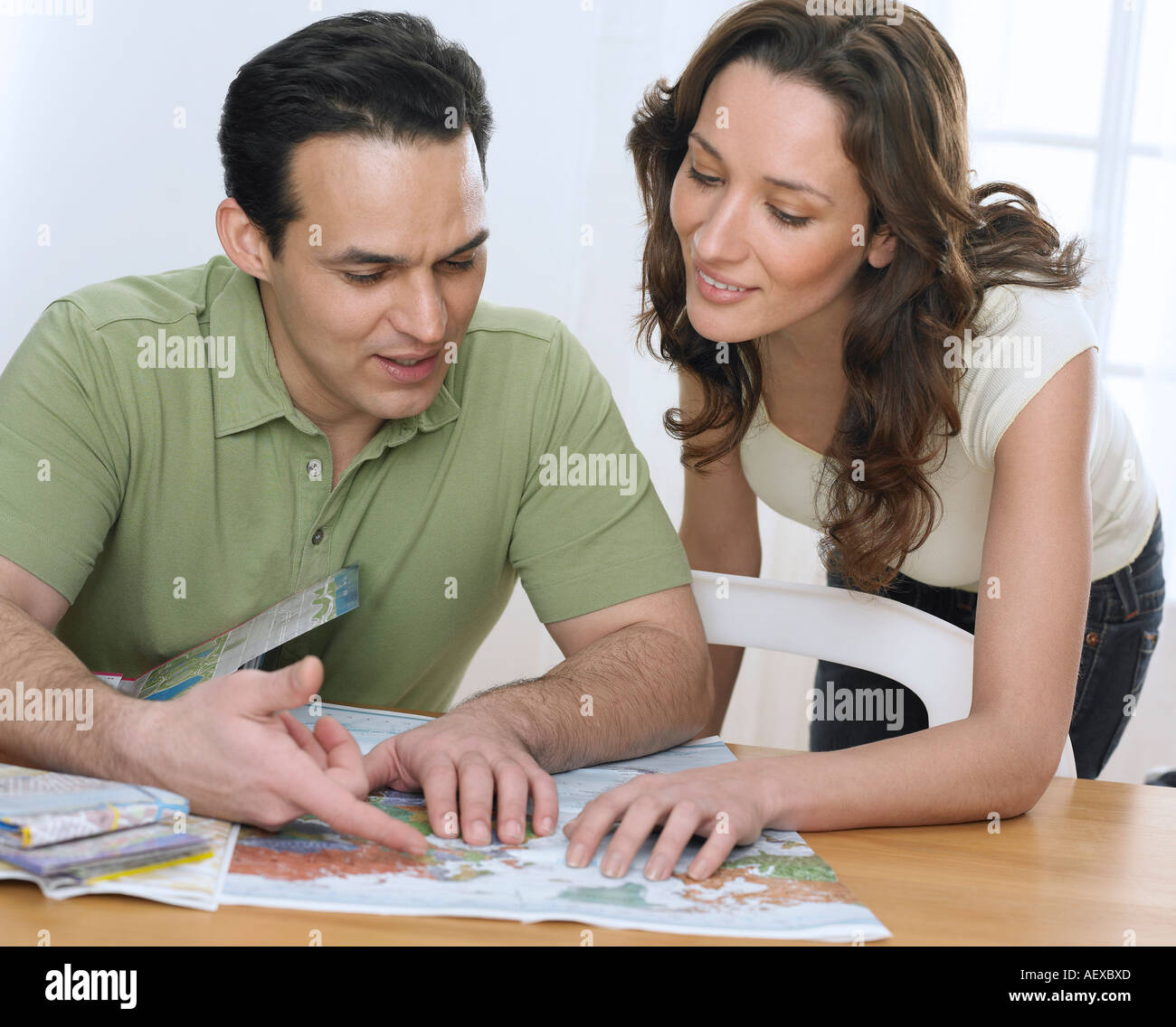 Couple planning a trip Stock Photo
